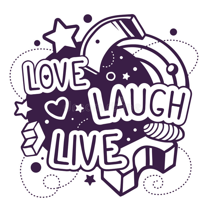 Download Vector Illustration Of Black And White Love Laugh Live ...