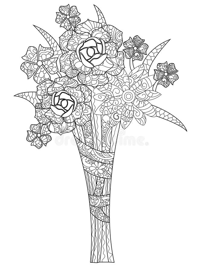 Vector Illustration Bouquet Of Three Roses Coloring Book