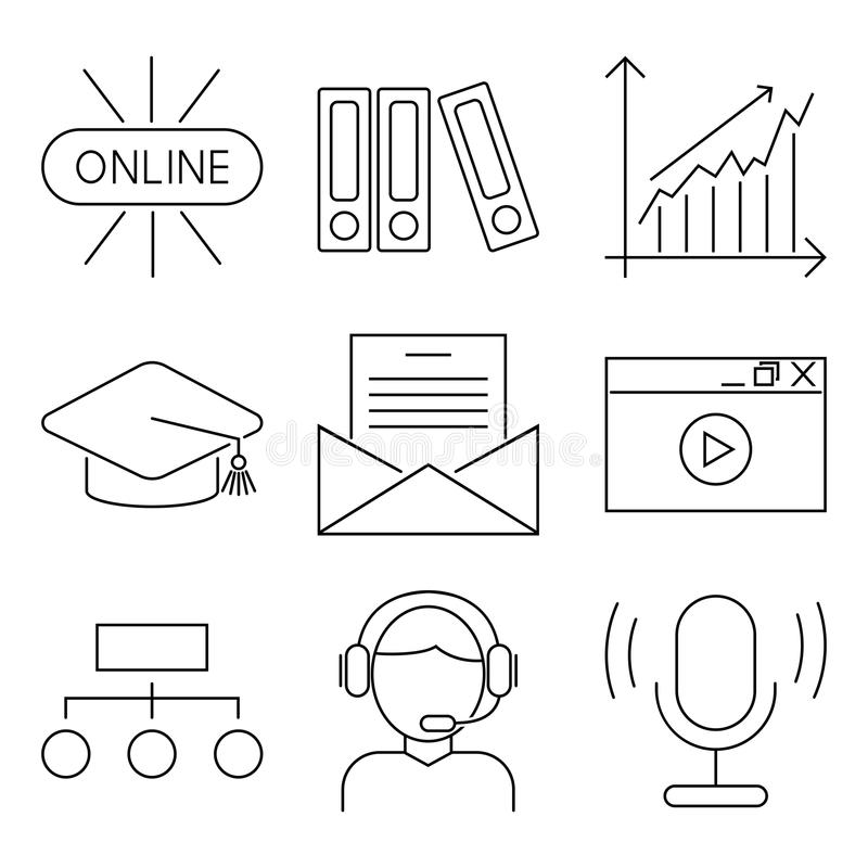 Online Education Concept Science Icons Stock Illustrations