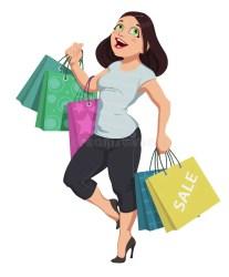 shopping cartoon vector illustration woman