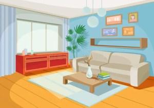 cartoon living vector cozy interior illustration sofa table coffee apartment shelf carpet drawers chest window