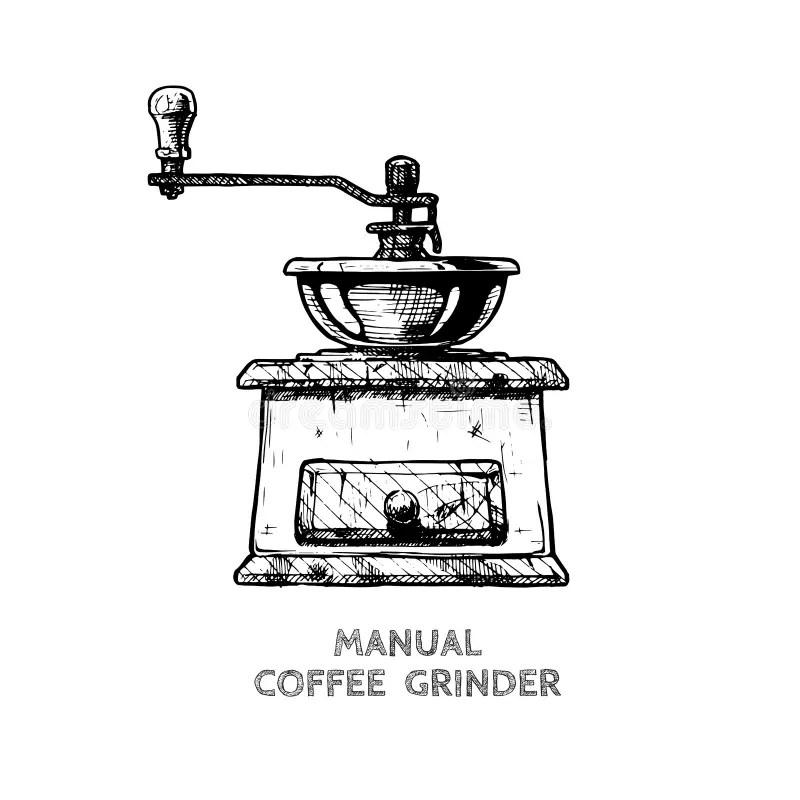 Manual coffee grinder stock illustration. Illustration of