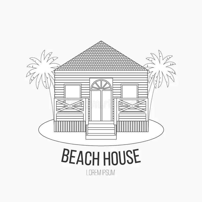 Beach hut label stock vector. Illustration of design