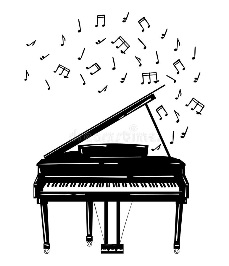 Vector Illustration Of A Piano With Notes. Keyboard