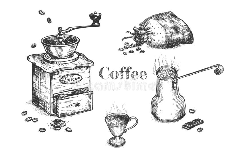 Coffee mill and bag stock vector. Illustration of aroma
