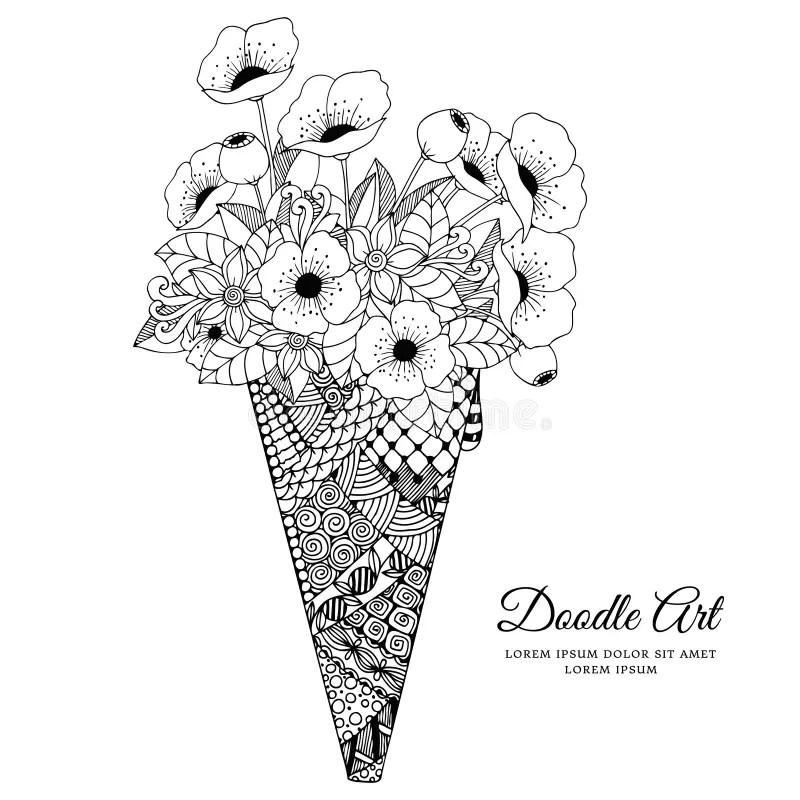 Vector Illustration Zen Tangle, Ice Cream With Poppies