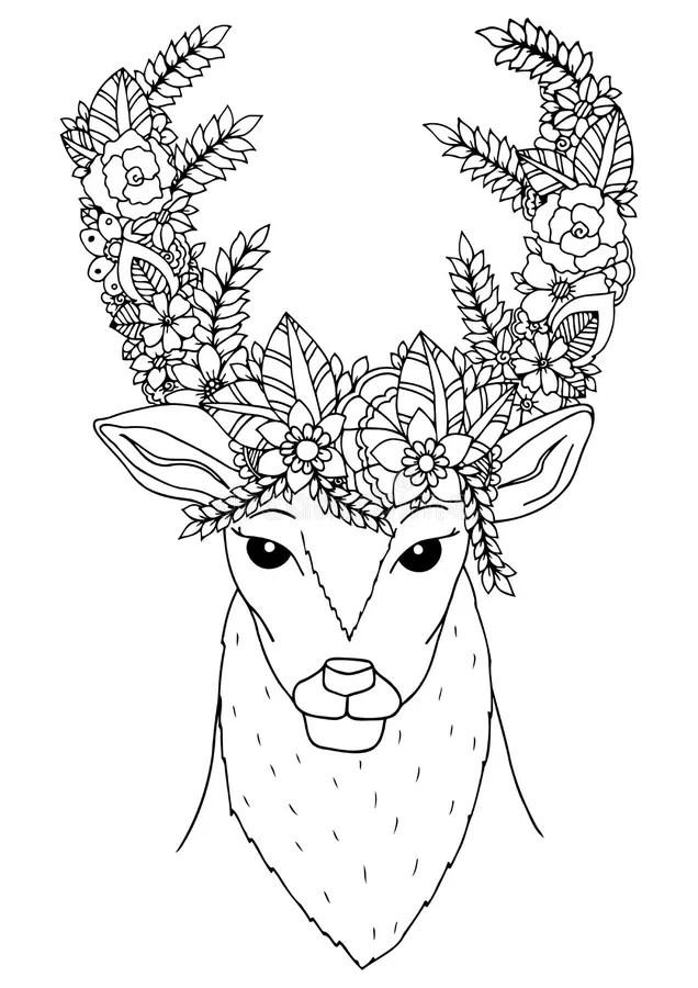 Vector Illustration Zentangl. Doodle Deer With Flowers