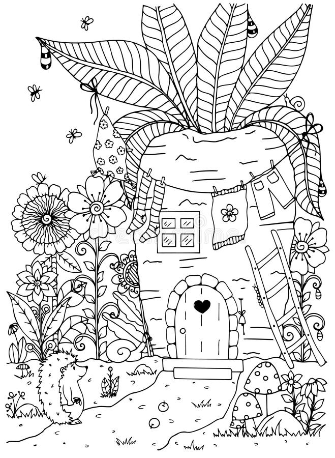 Vector Illustration Zentangl. Doodle Hedgehog And House In