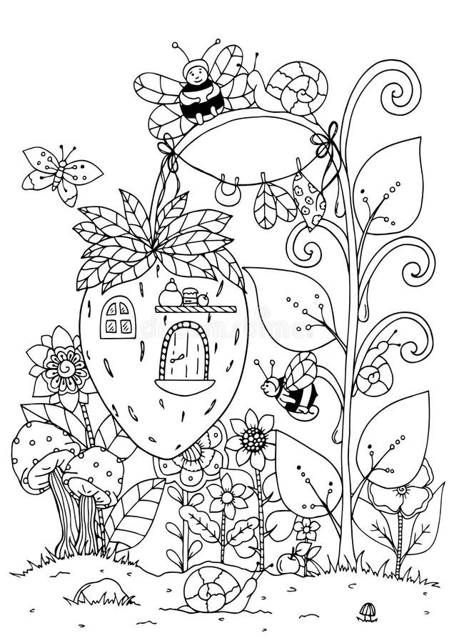 Vector Illustration Zentangl. Doodle House Of Strawberries