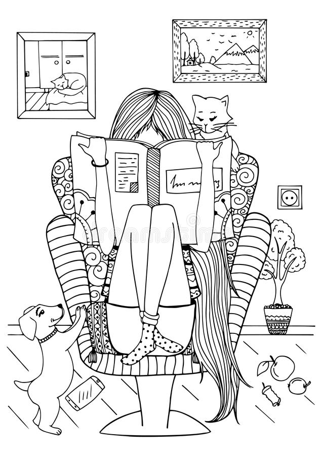 Vector Illustration Zentangl Girl Sitting In A Chair