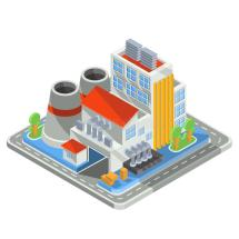 Isometric Industrial Factory Buildings Icon. Stock Vector