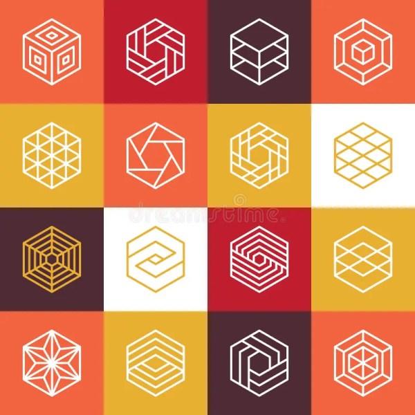 Vector Linear Hexagon Logos And Design Elements Stock