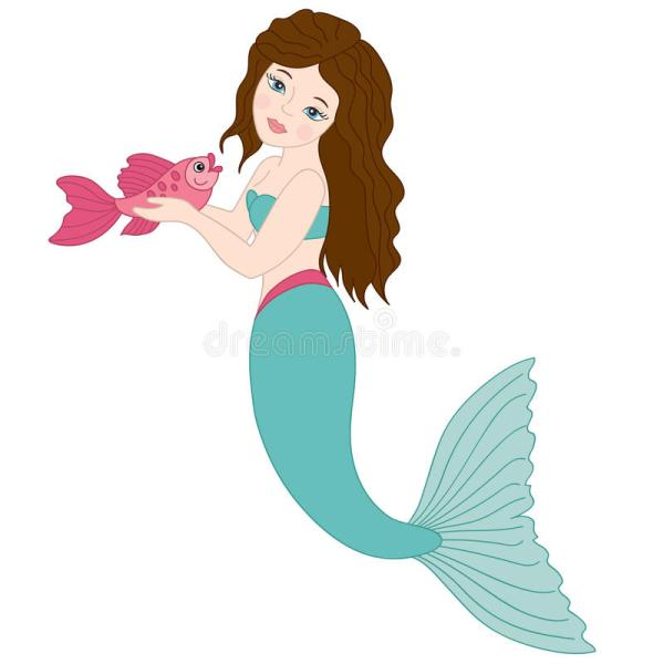 Vector Mermaid With Fish Clipart Stock - Illustration Of Blue 92981423