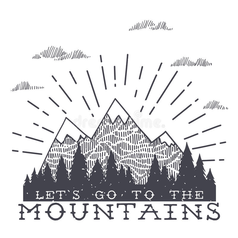Vector Mountain With Texture. Sketch Illustration With