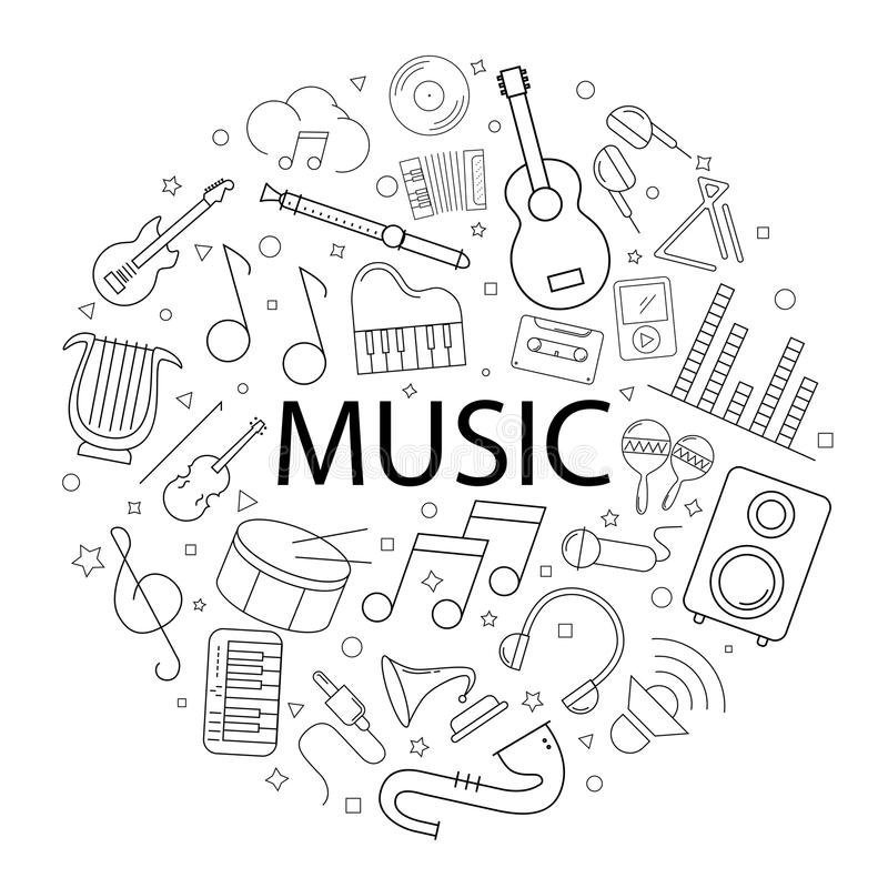 Music Word With Notes On Background Isolated Stock Vector