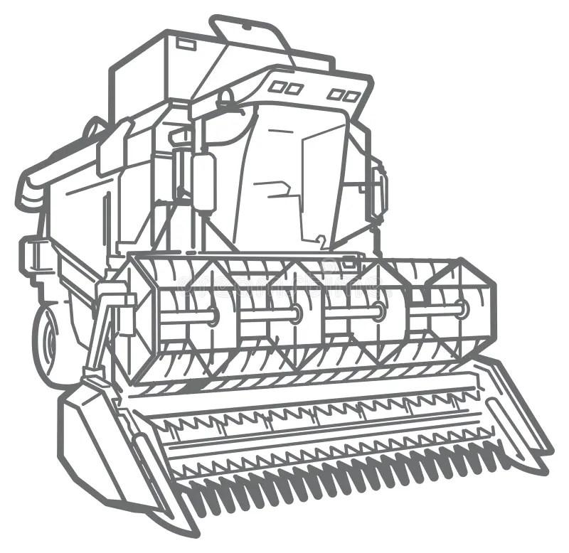 Vector Outline Combine-harvester Stock Vector