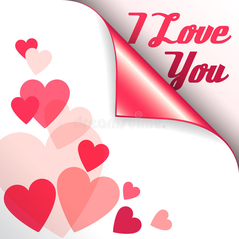 Download Vector Pink Heart With Curled Corner And Text I Love You ...