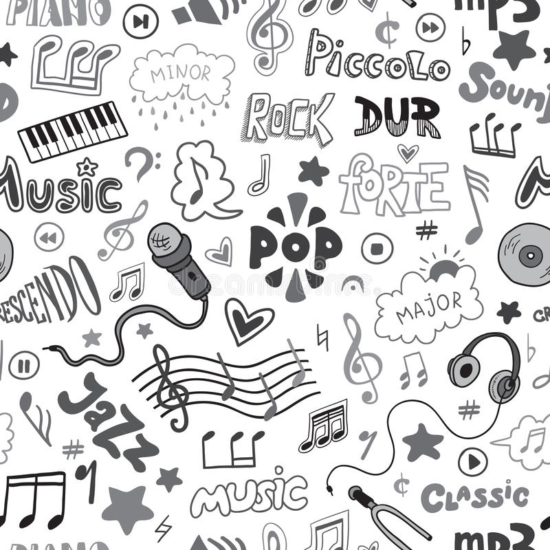 Vector Seamless Pattern Of Hand Drawn Doodles On A Music