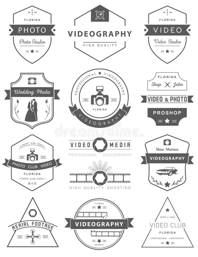 Vector Set Of Badges Photography And Videography Stock
