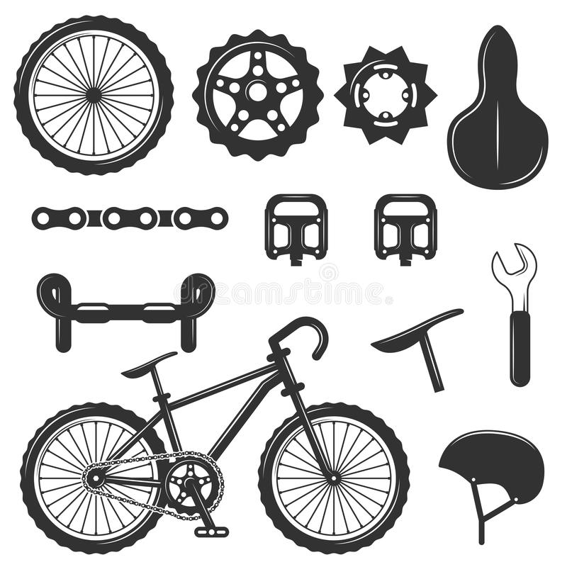 Vector Set Of Bicycle Parts Isolated Icons. Black And