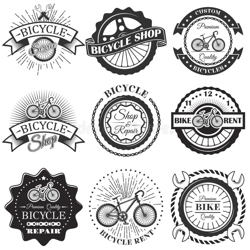 Vector Set Of Bicycle Repair Shop Labels And Design