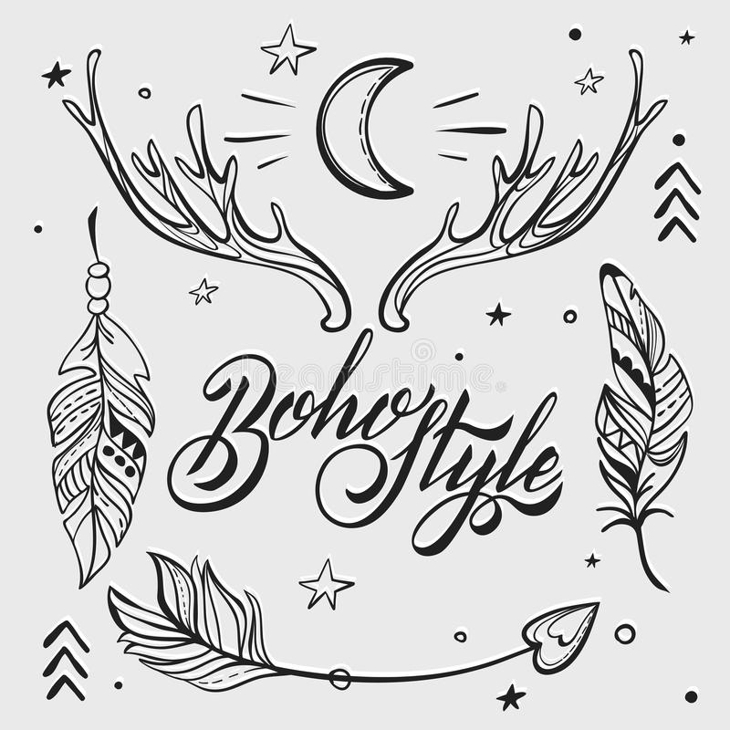 Vector Set Of Boho Style Elements. Lettering Calligraphy