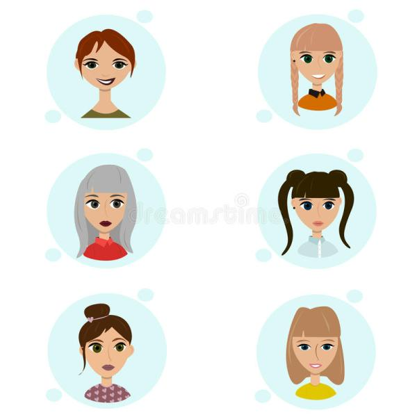 Vector Set Of Female Avatar Icons. People Illustration
