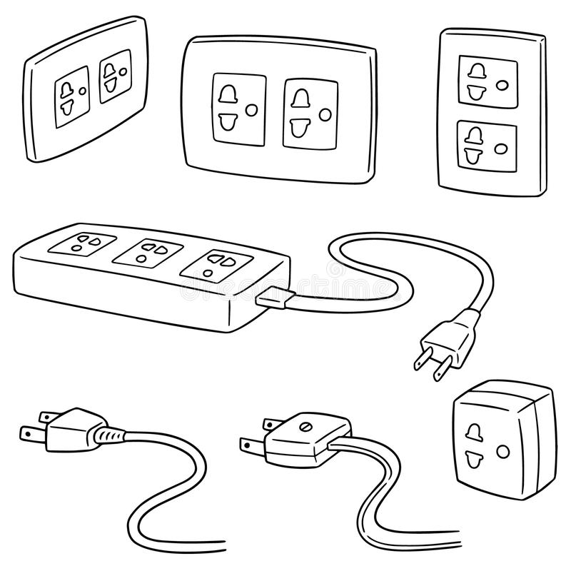 Vector set of plugs stock vector. Illustration of connect