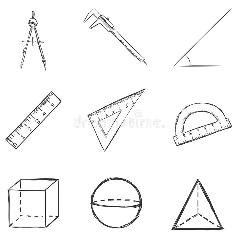 Set of geometry icons stock vector. Illustration of icons