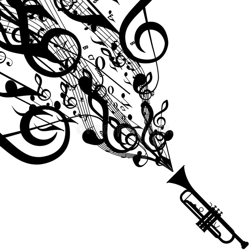 Vector Silhouette Of Trumpet With Musical Symbols Stock