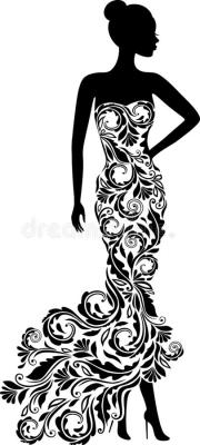 silhouette of elegant girl in