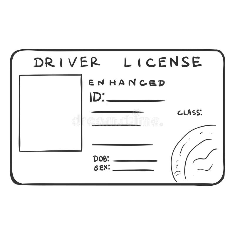 Vector Single Sketch Drivers Licence Stock Illustration
