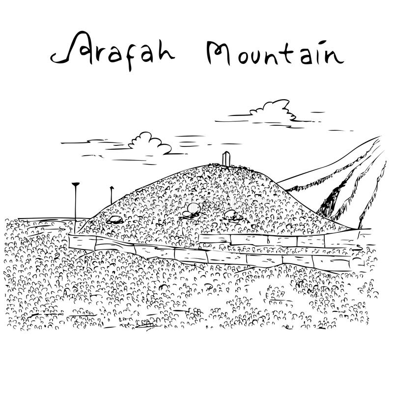 Islamic Landscape With Mosque And Hill Stock Illustration