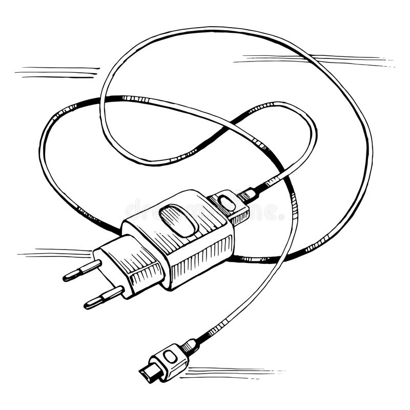 Vector Sketch Charger Usb Device Cable Stock Vector