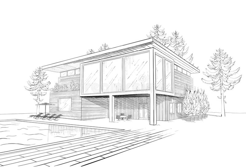 Vector Sketch Of Modern House With Swimmingpool Stock