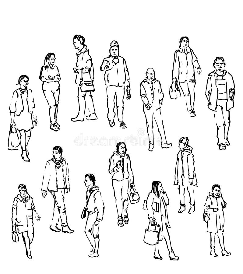 Vector sketch of people stock vector. Illustration of draw