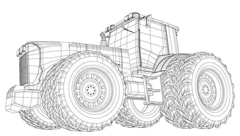 Vector Tractor. Front View. Wire-frame Tracing