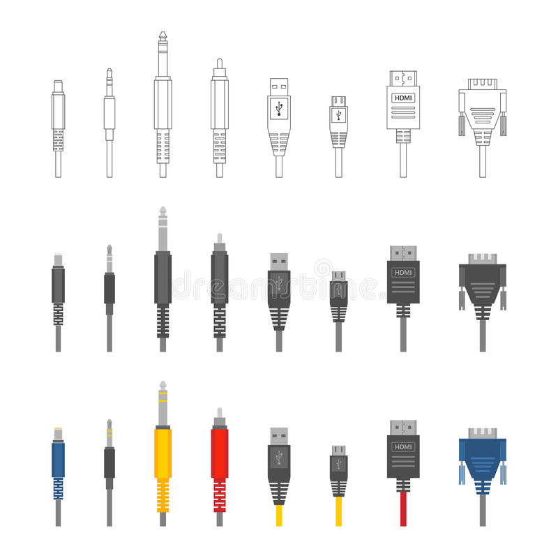 Vector Set Of Usb Computer Connectors Stock Vector