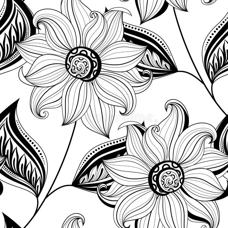 Vektornahtloses Einfarbiges Blumenmuster Vektor Abbildung