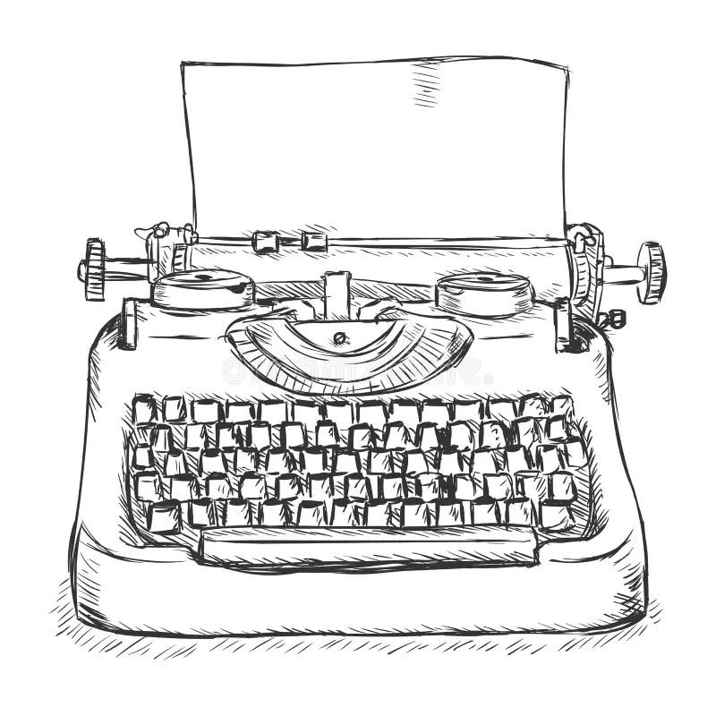 Vektor-Skizzen-Retro- Schreibmaschine Stock Abbildung