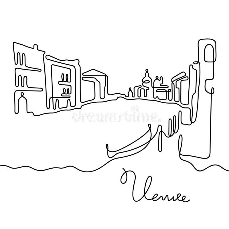 Italy, Venice Vector Postcard Design With Gondola Stock