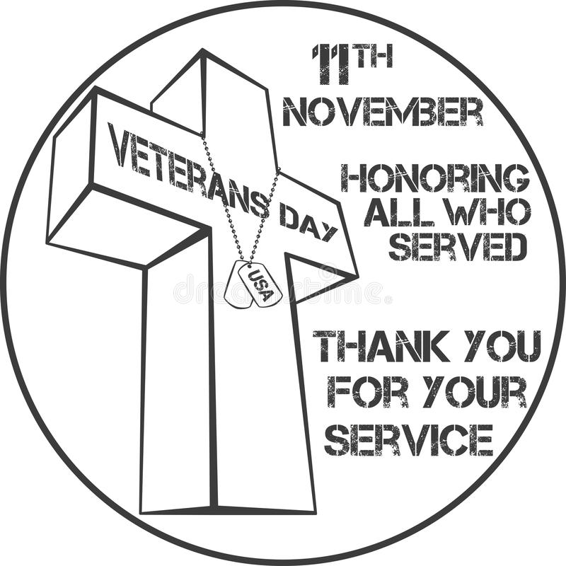 Veterans day sign stock vector. Illustration of