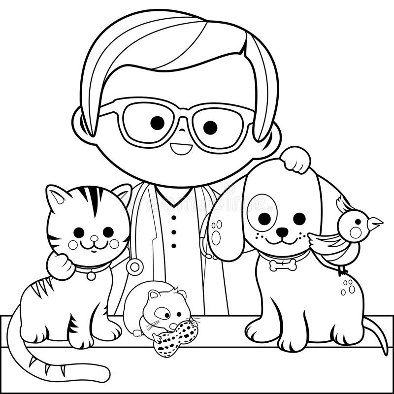 Veterinarian And Pets. Coloring Book Page Stock Vector