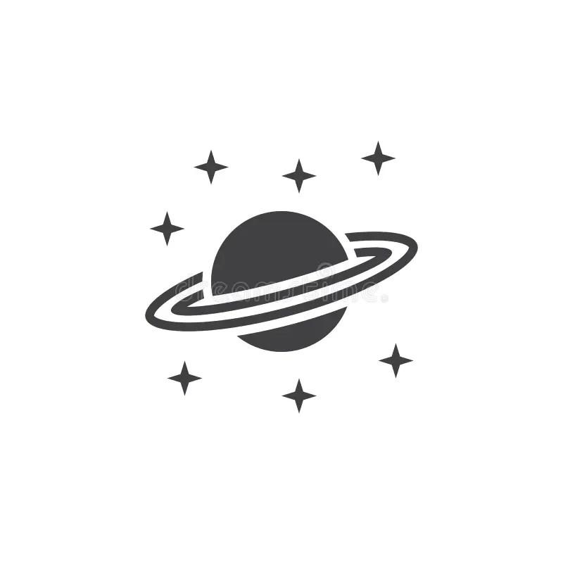 Planeta Saturn, Isolado No Branco Ilustração do Vetor