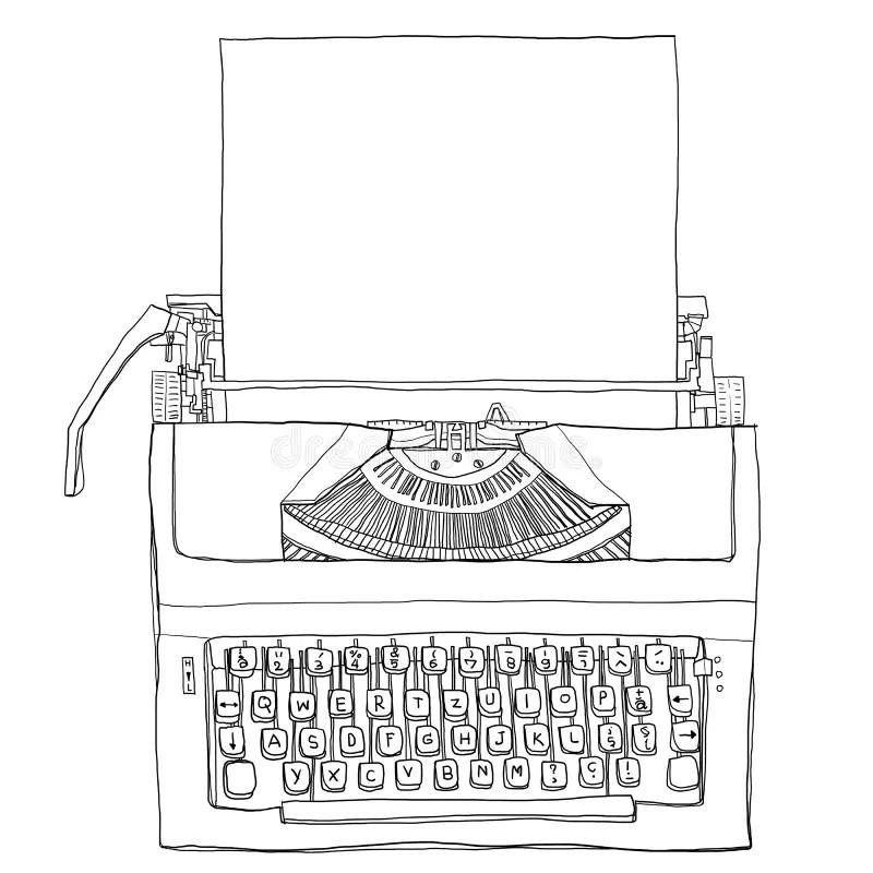 Vintage Typewriter With Paper Art Illustration Stock