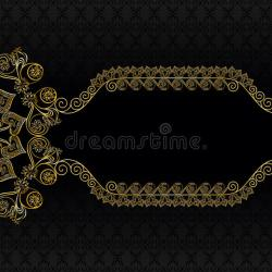 Flower Frame Black Gold. Vintage Frame With Pattern And Golden Flower Stock  Vector 194b02cc22c7