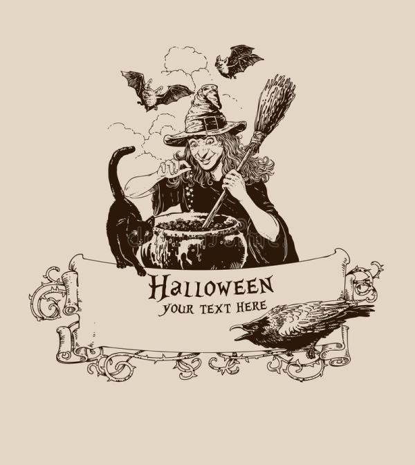 Vintage Helloween Witch Making Potion Poster Vector