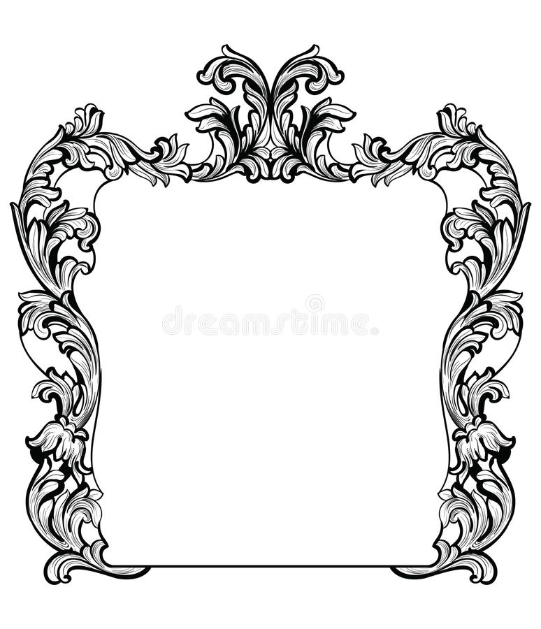 Vintage Imperial Baroque Mirror Frame. Vector French