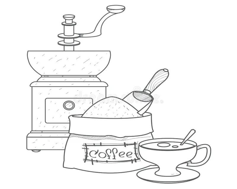 Antique Coffee Grinder Stock Illustrations