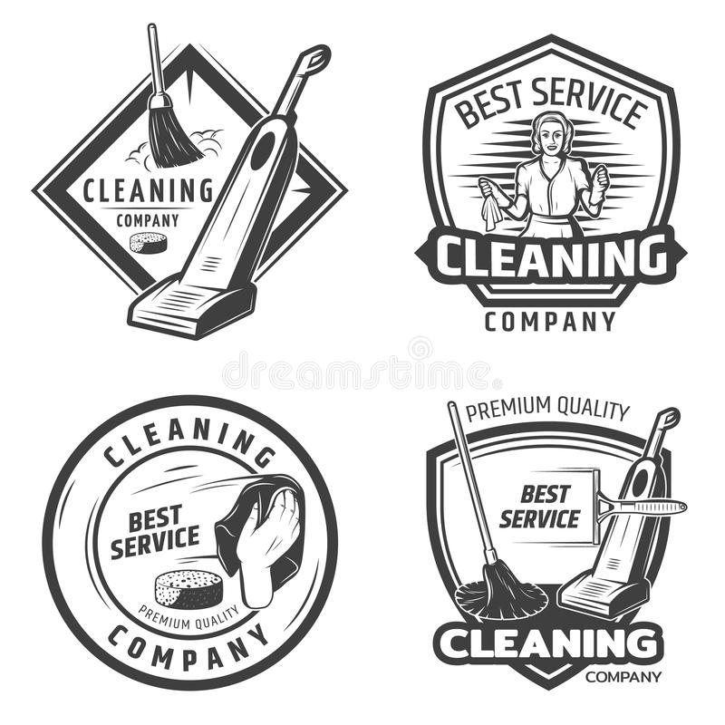 Set Of Retro Cleaning Logo Badges, Emblems And Labels